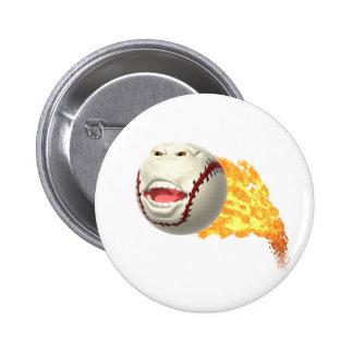 Flaming Baseball Button