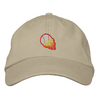 Flaming Baseball Embroidered Hat