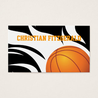 Flaming Basketball Black and White Business Card