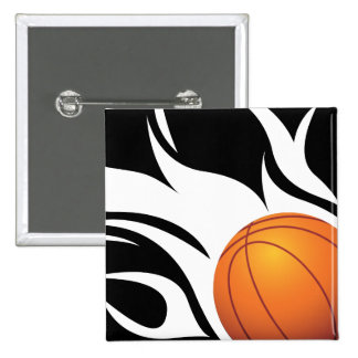Flaming Basketball Black and White Button