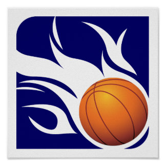 Flaming Basketball Blue and White Poster