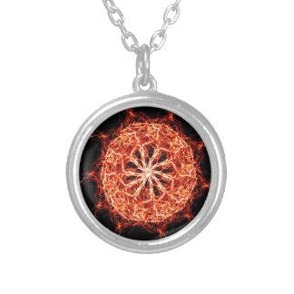 Flaming Burning Kaleidoscope Rose Silver Plated Necklace