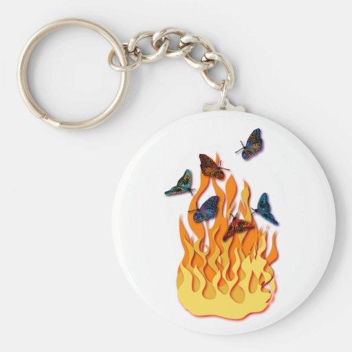 Flaming Butterflies Keychain