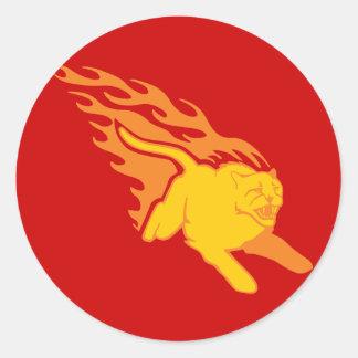 Flaming Cat #6 Classic Round Sticker