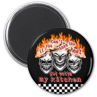 Flaming Chef Skulls: If You Can't Take the Heat Magnet