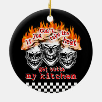 Flaming Chef Skulls: If You Can't Take the Heat Round Ceramic Decoration