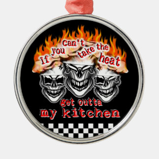 Flaming Chef Skulls: If You Can't Take the Heat Silver-Colored Round Decoration
