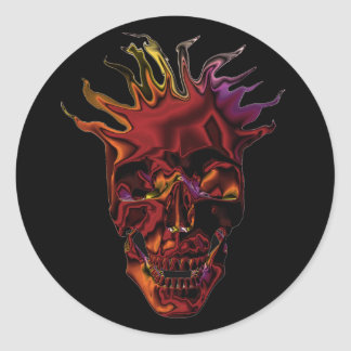flaming chrome skull classic round sticker