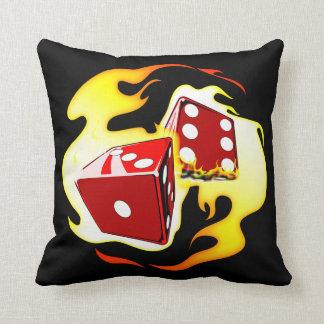 Flaming Dice Throw Cushion