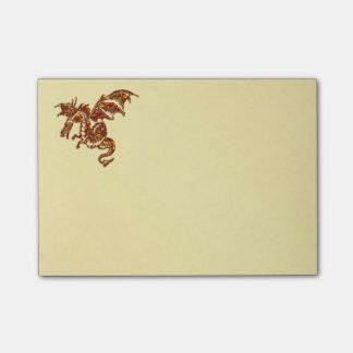 Flaming Dragon Gold Post-it Notes