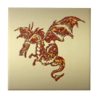Flaming Dragon on Gold Ceramic Tile