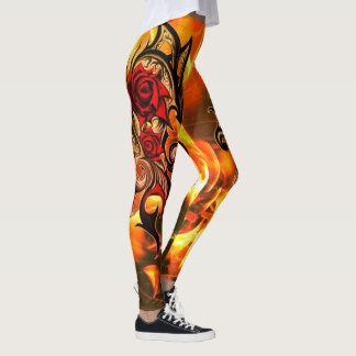 flaming dragon roses of gold leggings