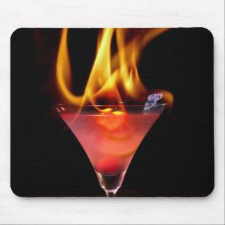 Flaming drink mouse pad