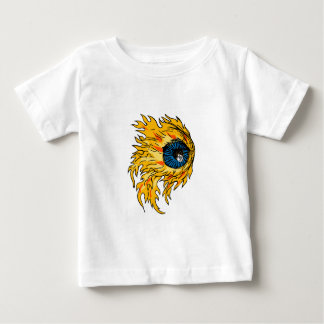 Flaming Eyeball On Fire Drawing Baby T-Shirt