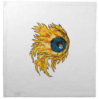 Flaming Eyeball On Fire Drawing Napkin