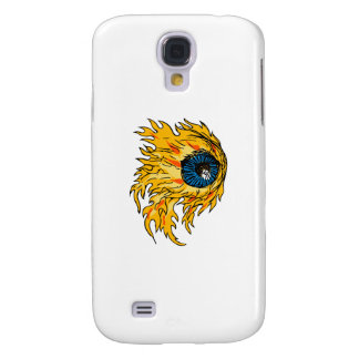 Flaming Eyeball On Fire Drawing Samsung Galaxy S4 Covers