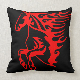 Flaming Fire Red Stallion Mustang Wild Horse Throw Pillow