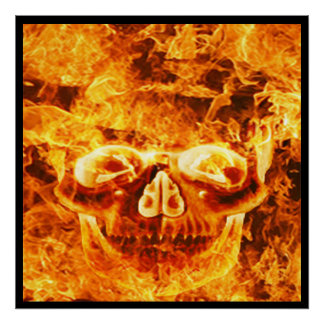 Flaming Fire Skull Poster
