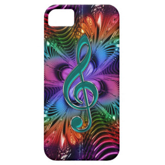 Flaming Fractal Music Treble Clef Case for iPhone