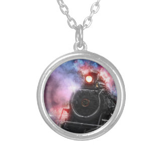 Flaming Freight Train Silver Plated Necklace