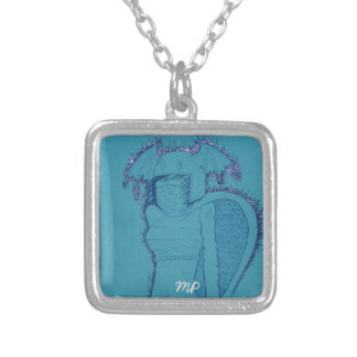 Flaming Ghost Girl Silver Plated Necklace