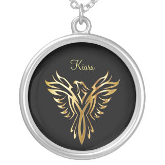 Flaming golden phoenix rising silver plated necklace