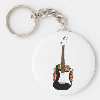 Flaming Guitar Basic Round Button Key Ring