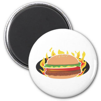 Flaming Hamburger 6 Cm Round Magnet