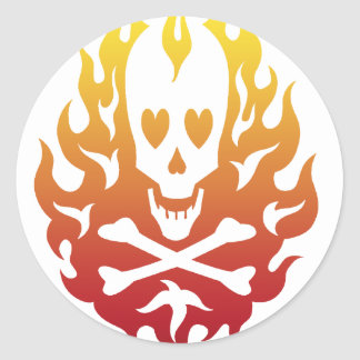 Flaming Heart Skull Stickers
