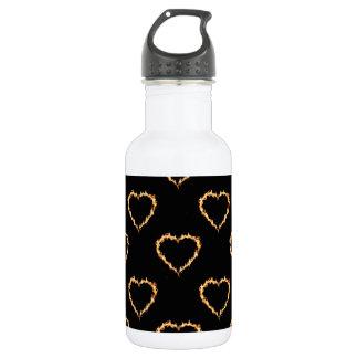 Flaming Hearts Pattern, Heart on Fire 532 Ml Water Bottle