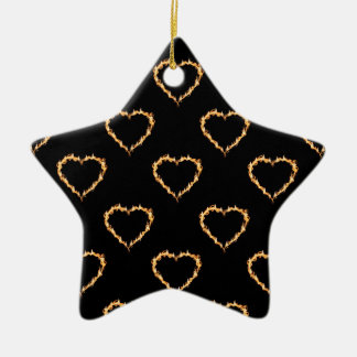 Flaming Hearts Pattern, Heart on Fire Ceramic Star Decoration