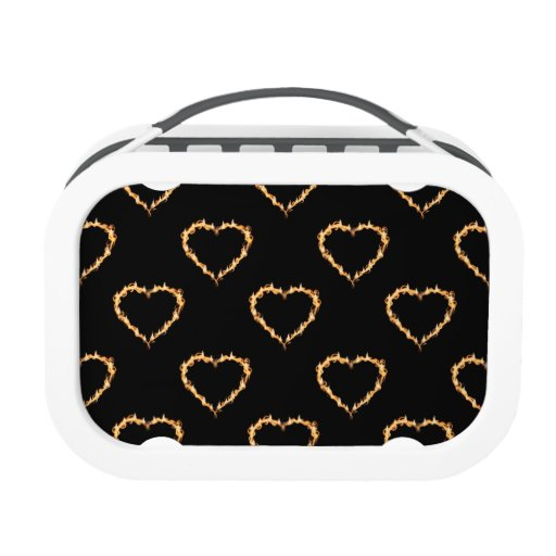 Flaming Hearts Pattern, Heart on Fire Lunchboxes