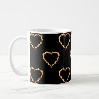 Flaming Hearts Pattern, Heart on Fire Mug