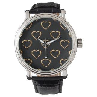 Flaming Hearts Pattern, Heart on Fire Wrist Watch