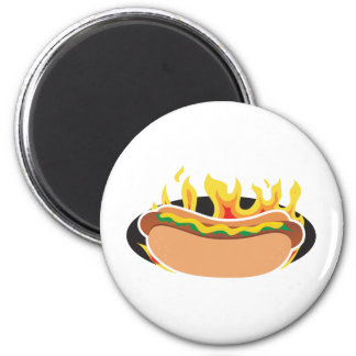 Flaming Hot Dog 6 Cm Round Magnet