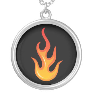 Flaming hot fire flame on black silver necklace
