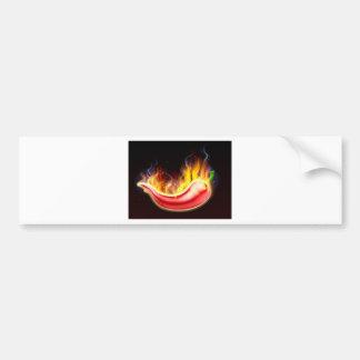 Flaming Hot Red Chilli Pepper Bumper Sticker