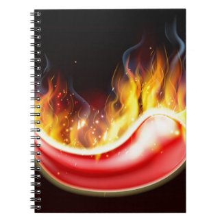 Flaming Hot Red Chilli Pepper Notebook