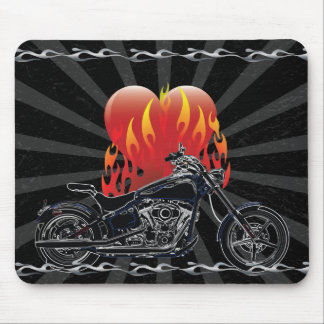 Flaming Love Biker Mousepad