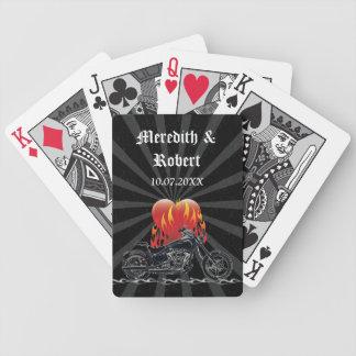 Flaming Love Biker Poker Deck