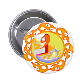 Flaming Nine 9th Birthday Gifts Pinback Button