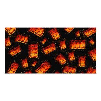 Flaming oil barrels custom photo card