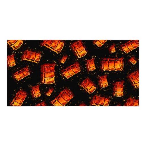 Flaming oil barrels photo cards