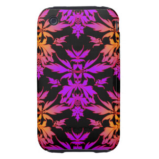 Flaming Orange and Purple Unique Leafy Damask Tough iPhone 3 Case