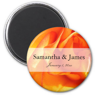 Flaming Orange and Red Rose Magnet