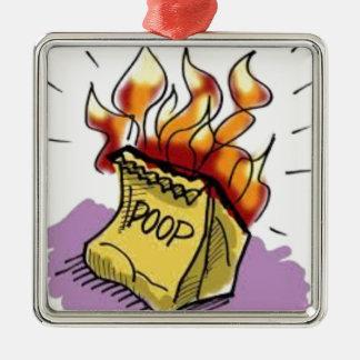 Flaming Poo Metal Ornament