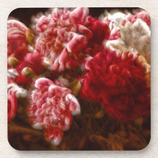 Flaming Red Peony Flower Bouquet Coaster