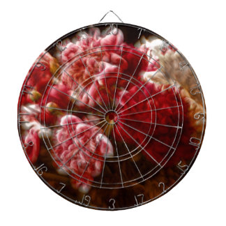 Flaming Red Peony Flower Bouquet Dartboard