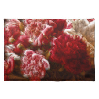 Flaming Red Peony Flower Bouquet Placemat