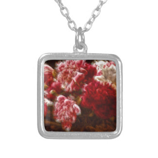 Flaming Red Peony Flower Bouquet Silver Plated Necklace